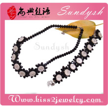 Party Schmuck Classics Black Rose Blumen Halskette Armband