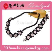 Joyas de fiesta Classics Black Rose Flower Necklace Bracelet