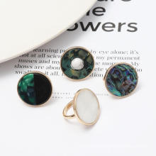 Fashion Original Design Round Geometric Abalone Shell Rings Double Colors Designer Rings Jewellery