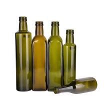 Olive Oil Bottle Square Glass Camellia Oil Bottle Dark Green Oil Bottle