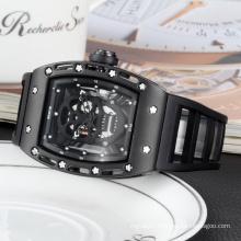 2016 new product fashion mens silicon wristwatches skeleton skull