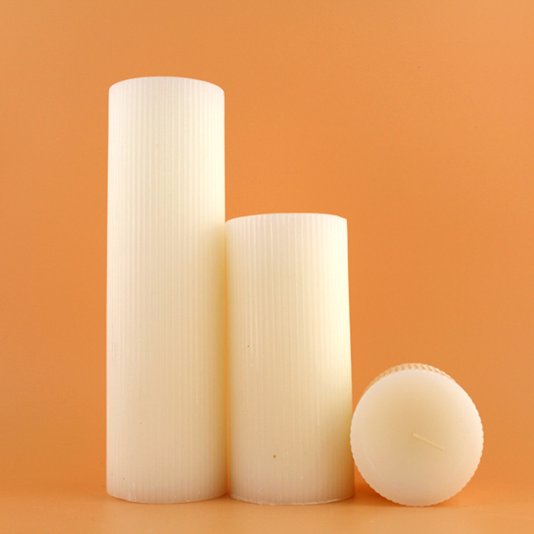 White Unscented Fluted Pillar Candles
