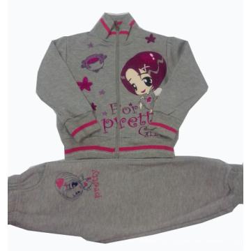 Inverno de Boa Qualidade 100% Algodão Fleece Crianças Terno 3 PC Set Roupas Crianças Hoodies Outwear Bebê Lazer Terno Swg-002