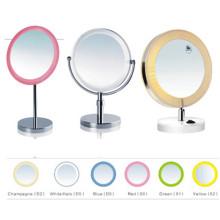 Espejo de maquillaje de mesa de baño con luz