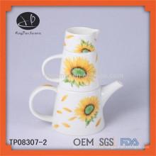 , Tetera de cerámica con diseño, juego de té dividido, teteras decorativas de porcelana, juego de taza de té