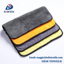 Serviette absorbante superbe de microfibre de nettoyage de voiture de tissu de molleton de corail avec la couleur grise jaune