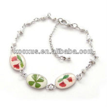 Real four 4 leaf clover bracelet/bangle