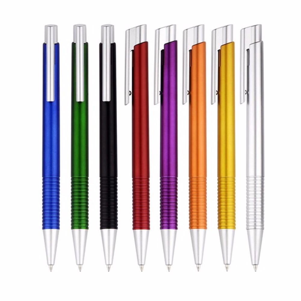Ribbed Grip Metallic Paint Barrel Plastic Pen