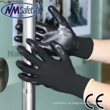 Luva preta do estoque da luva da mão do nitrilo de NMSAFETY para o mercado de Poland