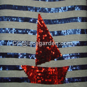 Three Color Sequins Embroidery Fabric