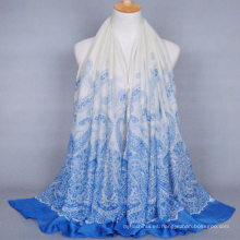 Venta caliente nuevo diseño de las mujeres larga anaquelería plana estampado chal de la gasa India hijab