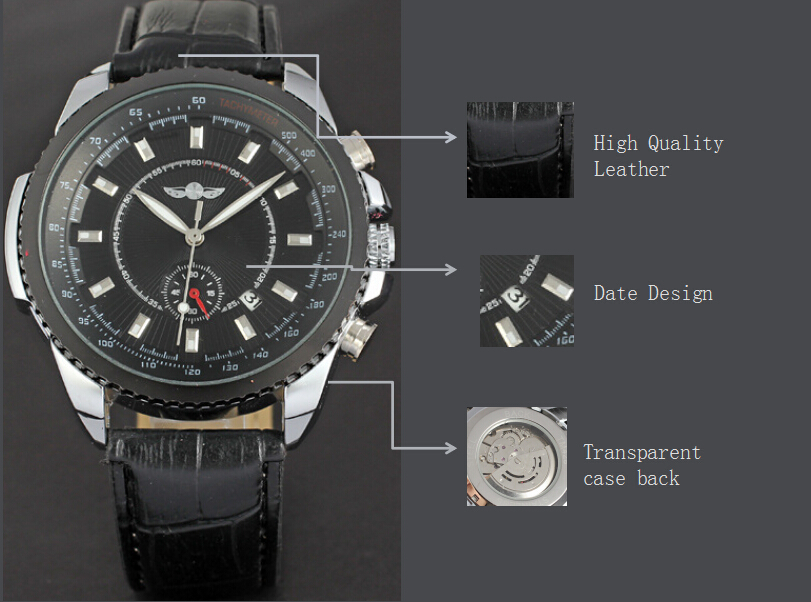 chronograph watch winner men watch with high quality leather band date design watch