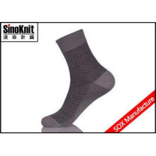 Dark Grey Stripe Men Dress Socks Quarter Mercerized Cotton