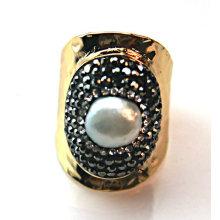 Novo Design Anel com Pedra Preciosa Pérola Anéis Acessório Jóias