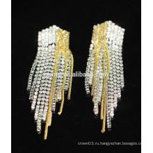 Оптовые продажи Элегантный серебро висит кристалл серьги Стад