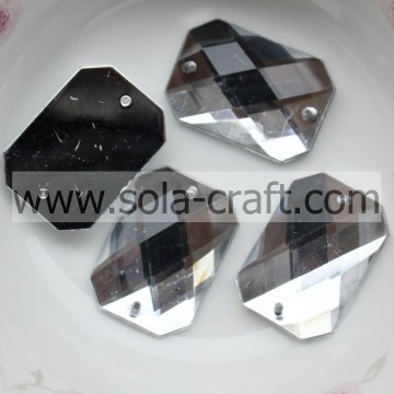Détail 15 * 21mm Clear Silver plastique acrylique coupe Rectangle Cube Rideau miroir cristal perle District