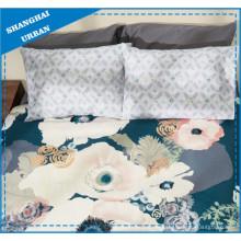 Seegrün Blumenmuster Polyester Quilt Cover Set