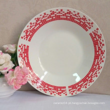 prato de sopa redondo, prato de porcelana linyi, tigela de sopa