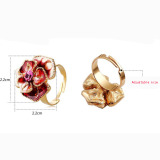 Purple Alloy and Crystal Flower Shaped Rings for Valentine's Day Jewelry (JZ-2348)