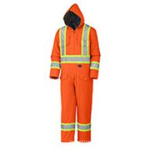 Grippe-Orange gesteppter Baumwollente-Sicherheits-Overall