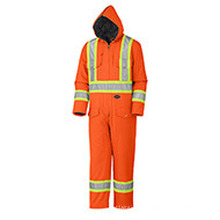 Flu Orange Quilted Cotton Duck Safety Coverall