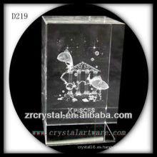 K9 3D subsuperficie láser Piscis dentro de rectángulo de cristal