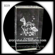 K9 3D Laser subsuperfície Pisces dentro retângulo de cristal