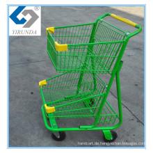 Grüner Doppelkorb-Einkaufslaufkatze mit Gut-Gebrauch