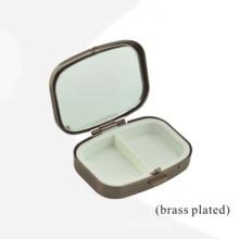 Boîte en métal rectangulaire plaqué en laiton avec insert de 2 unités (BOX-39)