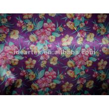 Tecido de cetim de seda falso Flora impresso para vestido e roupa de noite