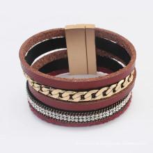 Multilayer laço de ouro cadeia de rhinestone moda pulseira de couro