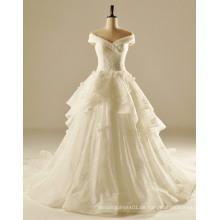 Weg von der Schulter weiches fließendes Hochzeits-Kleid