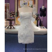 Neue Ankunfts-2017 kurzes Hochzeits-Kleid mit Rüsche-Gurt