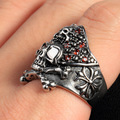 CZ jewelry Biker men ruby Skull Ring