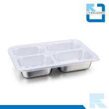 304 Edelstahl 4 Teiler Lebensmittel Tablett Platte Lebensmittel Tray mit Deckel