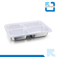 304 Stainless Steel 4 Dividers Food Tray Plate Food Tray with Lid