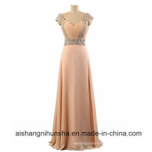 Floor-Length Beaded Bridesmaid Dress Straps Chiffon A-Line Crystals Party Dresses