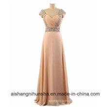 Andar de comprimento frisado vestido de dama de honra cintas chiffon a linha de cristais vestidos de festa
