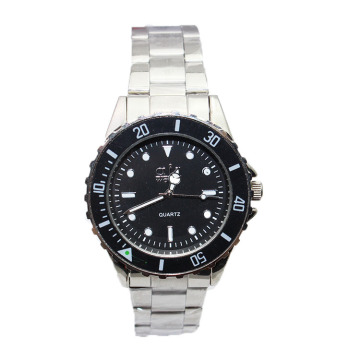 Waterproof stainless steel black face quartz watch