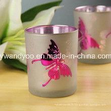 Bougie de Noël soja parfumée papillon en verre eletroplate