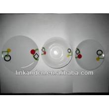 Haonai 12pcs простой белый фарфоровый набор посуды