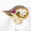 New 18K Gold plated Women's jewelry zinc alloy rhinestone finger ring wholesale & retail
