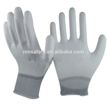 NMSAFETY Branco Liner Free ESD Nylon Luvas com PU na palma da mão