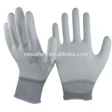 NMSAFETY Белый лайнер Бесплатная ОУР нейлоновые перчатки с ПУ на ладони