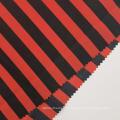 Tecidos Pongee de Poliéster Estampados em Listrado Vermelho Preto