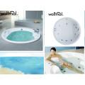 Ronda incrustado en la bañera de hidromasaje de burbujas de aire incorporado