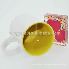 Сублимация белая кружка с цветом внутри subliamtion печатные кружки yiwu завод