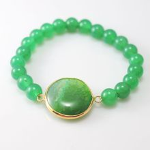 Green Aventurine Bracelet with Agate Pendant Piece Gemstone jewelry