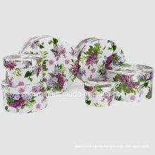 Exquisita flor de papel impreso cosméticos de embalaje cajas de regalo redondas