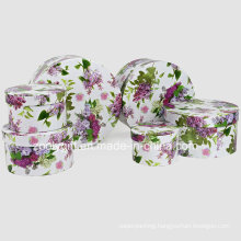 Exquisite Flower Printed Paper Cosmetic Packing Round Gift Boxes